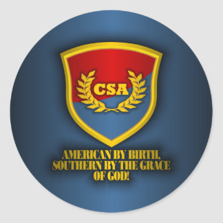 Southern By The Grace Of God (Red & Blue) Classic Round Sticker