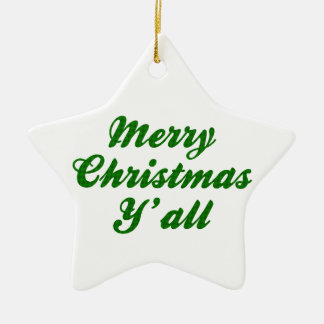 Southern Christmas Greeting Houndstooth Ceramic Star Decoration