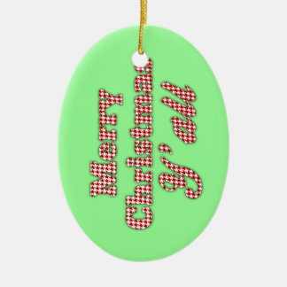Southern Christmas Greeting Houndstooth Ceramic Oval Decoration