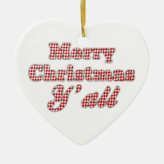 Southern Christmas Greeting Houndstooth Ceramic Heart Decoration