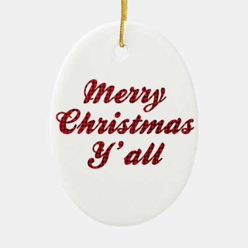 Southern Christmas Greeting Houndstooth Christmas Ornament
