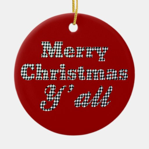 Southern Christmas Greeting Houndstooth Ornaments