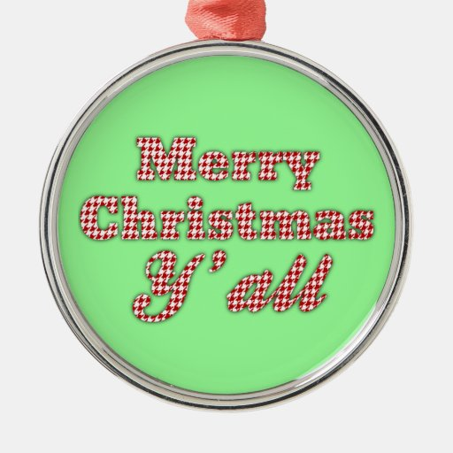 Southern Christmas Greeting Houndstooth Ornament