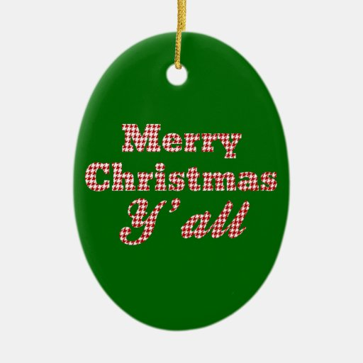 Southern Christmas Greeting Houndstooth Christmas Tree Ornaments