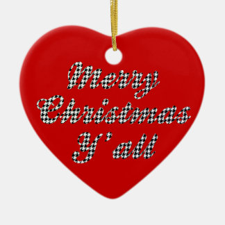 Southern Christmas Greeting Houndstooth Double-Sided Heart Ceramic Christmas Ornament