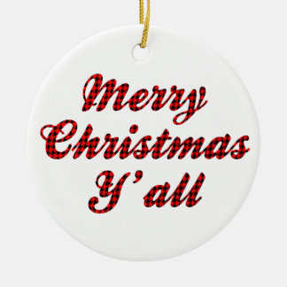 Southern Christmas Greeting Houndstooth Round Ceramic Decoration