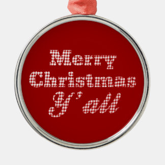 Southern Christmas Greeting Houndstooth Silver-Colored Round Decoration