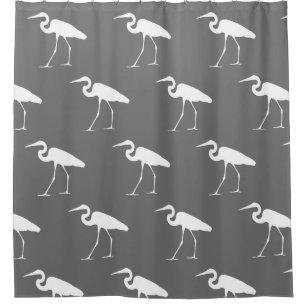 Southern Coastal White Egret & Grey Shower Curtain
