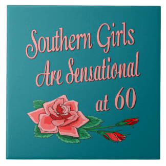 Southern Girl 60th Birthday Rose Collection Large Square Tile