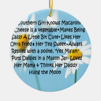 Southern Girl Round Ceramic Decoration