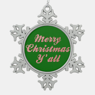 Southern Houndstooth Christmas Greeting Pewter Snowflake Decoration