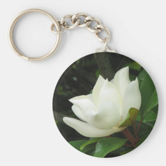 Southern Magnolia Basic Round Button Key Ring