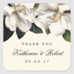 Southern Magnolia Botanical Wedding Favour Square Sticker