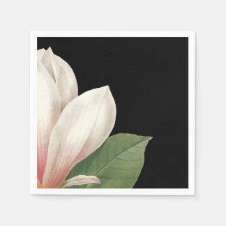 Southern Magnolia Flower   Pink White Black Disposable Serviettes