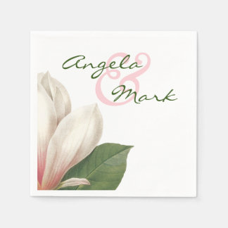 Southern Magnolia Flower Wedding   Pink and White Paper Napkin