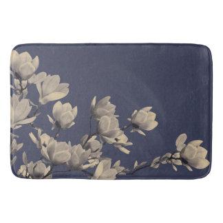 Southern Magnolias & Midnight Blue Floral Bath Mats