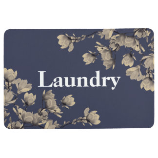 Southern Magnolias & Midnight Blue Laundry Floor Mat