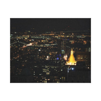 Southern Manhattan s East Side at Night 001 Stretched Canvas Print