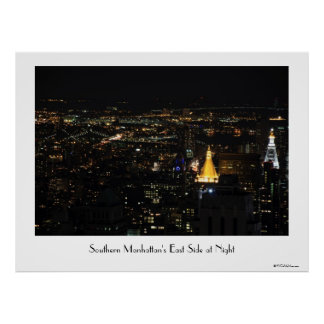 Southern Manhattan s East Side at Night 001 Print