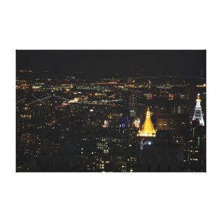 Southern Manhattan's East Side at Night 001 Stretched Canvas Print