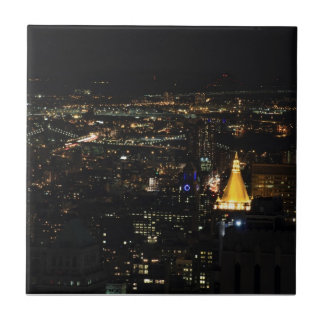 Southern Manhattan's East Side at Night 001 Ceramic Tile