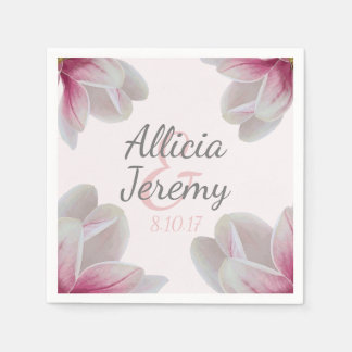 Southern Pink Magnolia Blossoms Wedding Paper Napkin