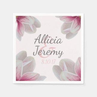 Southern Pink Magnolia Blossoms Wedding Paper Serviettes