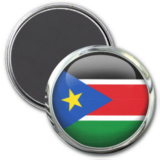 Southern Sudan Flag Glass Ball 7.5 Cm Round Magnet