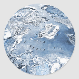 Southward Overhead View Pearl Harbor Classic Round Sticker