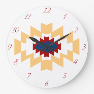 Southwest Aztec Native American Tribal Design Large Clock