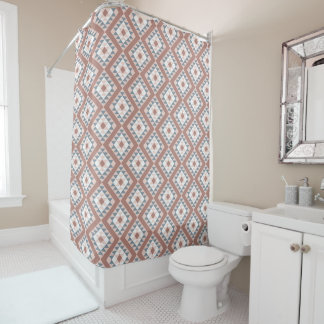 Southwest Blanket Pattern Copper Gray Shower Curtain