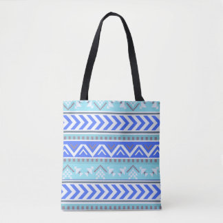 Southwest Blue Aztec Pattern Tote Bag