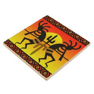 Southwest Cactus Kokopelli Tribal Design Wood Coaster