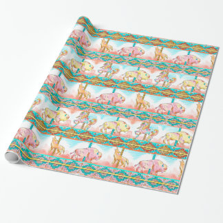 southwest carousel animals desert wrapping paper
