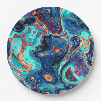 Southwest Colors Marbled Abstract Paper Plate