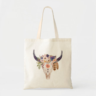 Southwest Cow Skull Tribal Markings and Flowers