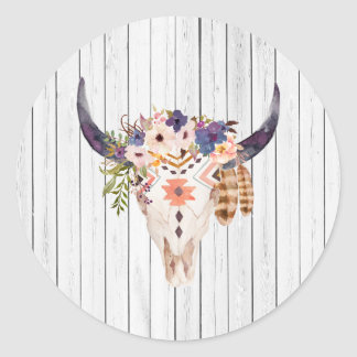 Southwest Cow Skull Tribal Markings and Flowers Classic Round Sticker