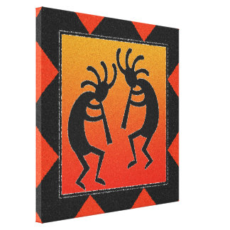 Southwest Dancing Kokopelli Design Canvas Print