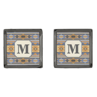 Southwest Design Blue Gray Monogram Gunmetal Finish Cufflinks