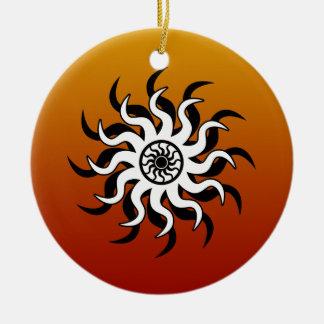 Southwest Design Tribal Sun Round Ceramic Decoration