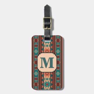 Southwest Design Turquoise Terracotta Monogram Luggage Tag