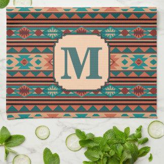 Southwest Design Turquoise Terracotta Monogram Tea Towel