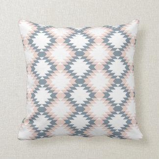 Southwest Diamond Zigzag Blush Grey Throw Pillow