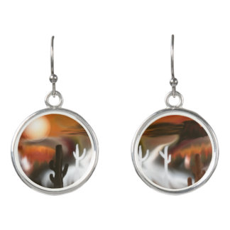 Southwest Fire and Ice Abstract Art Earrings