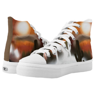 Southwest Fire and Ice Abstract Art High Tops