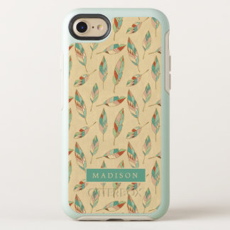 Southwest Geo Step | Coral Feather Pattern OtterBox Symmetry iPhone 8/7 Case