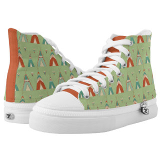 Southwest Geo Step | Green Teepee Pattern High Tops