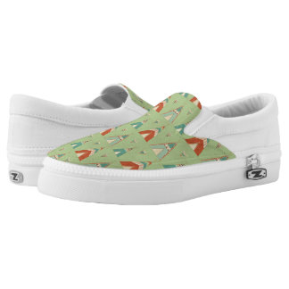 Southwest Geo Step | Green Teepee Pattern Slip-On Shoes