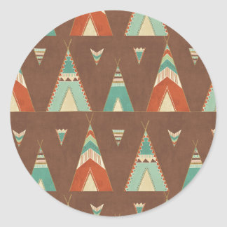 Southwest Geo Step | Teal Teepee Pattern Classic Round Sticker