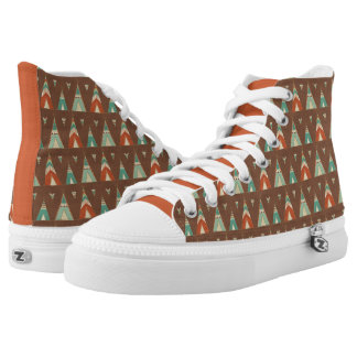 Southwest Geo Step | Teal Teepee Pattern High Tops